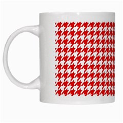 Friendly Houndstooth Pattern,red White Mugs