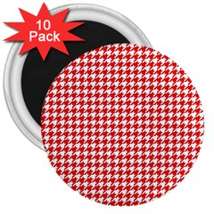 Friendly Houndstooth Pattern,red 3  Magnets (10 Pack)
