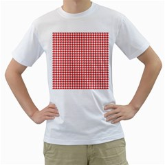 Friendly Houndstooth Pattern,red Men s T Shirt (white) (two Sided)