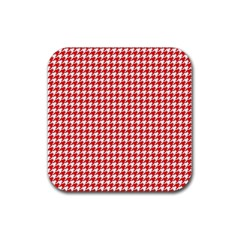 Friendly Houndstooth Pattern,red Rubber Square Coaster (4 Pack)