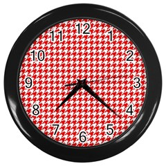 Friendly Houndstooth Pattern,red Wall Clocks (black)