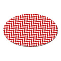 Friendly Houndstooth Pattern,red Oval Magnet