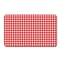 Friendly Houndstooth Pattern,red Magnet (rectangular)