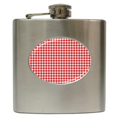 Friendly Houndstooth Pattern,red Hip Flask (6 Oz)