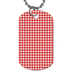 Friendly Houndstooth Pattern,red Dog Tag (two Sides)