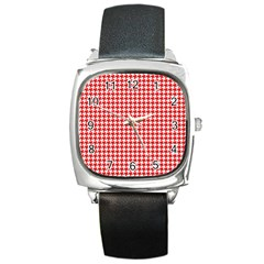 Friendly Houndstooth Pattern,red Square Metal Watch