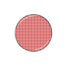 Friendly Houndstooth Pattern,red Hat Clip Ball Marker (10 Pack)