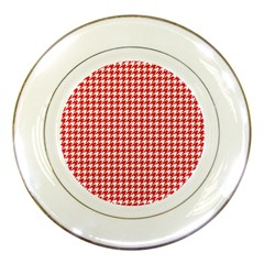 Friendly Houndstooth Pattern,red Porcelain Plates