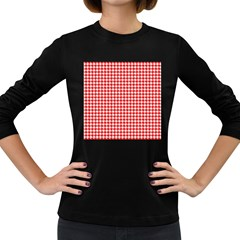 Friendly Houndstooth Pattern,red Women s Long Sleeve Dark T Shirts