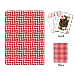 Friendly Houndstooth Pattern,red Playing Card