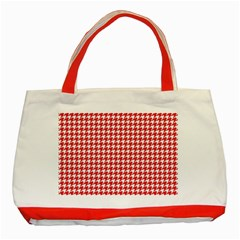 Friendly Houndstooth Pattern,red Classic Tote Bag (red)