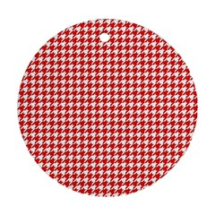 Friendly Houndstooth Pattern,red Round Ornament (two Sides)