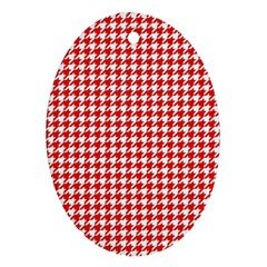 Friendly Houndstooth Pattern,red Oval Ornament (two Sides)