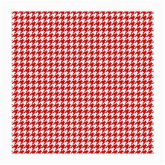 Friendly Houndstooth Pattern,red Medium Glasses Cloth