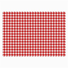 Friendly Houndstooth Pattern,red Large Glasses Cloth