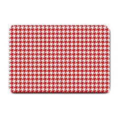Friendly Houndstooth Pattern,red Small Doormat