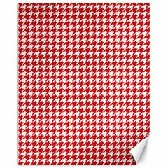 Friendly Houndstooth Pattern,red Canvas 11  X 14