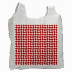 Friendly Houndstooth Pattern,red Recycle Bag (one Side)