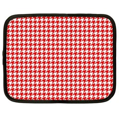 Friendly Houndstooth Pattern,red Netbook Case (xl)