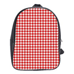 Friendly Houndstooth Pattern,red School Bag (large)