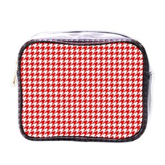 Friendly Houndstooth Pattern,red Mini Toiletries Bags