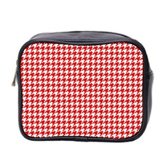 Friendly Houndstooth Pattern,red Mini Toiletries Bag 2 Side