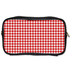 Friendly Houndstooth Pattern,red Toiletries Bags 2 Side