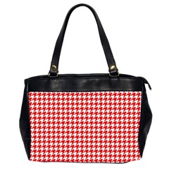 Friendly Houndstooth Pattern,red Office Handbags (2 Sides)