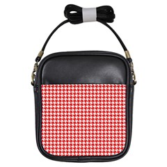 Friendly Houndstooth Pattern,red Girls Sling Bags