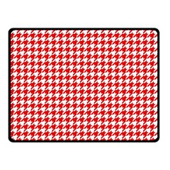 Friendly Houndstooth Pattern,red Fleece Blanket (small)