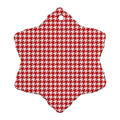 Friendly Houndstooth Pattern,red Snowflake Ornament (two Sides)