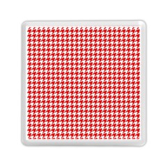 Friendly Houndstooth Pattern,red Memory Card Reader (square)