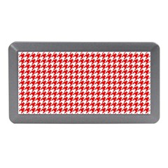 Friendly Houndstooth Pattern,red Memory Card Reader (mini)