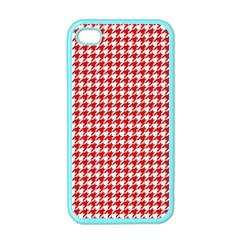 Friendly Houndstooth Pattern,red Apple Iphone 4 Case (color)
