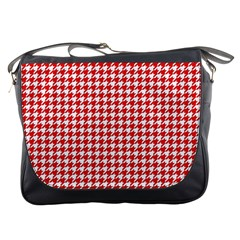 Friendly Houndstooth Pattern,red Messenger Bags