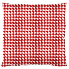 Friendly Houndstooth Pattern,red Large Cushion Case (two Sides)