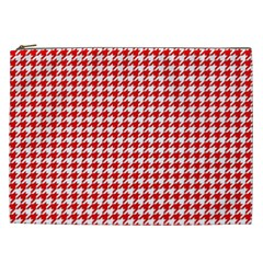 Friendly Houndstooth Pattern,red Cosmetic Bag (xxl)
