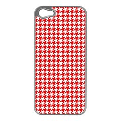 Friendly Houndstooth Pattern,red Apple Iphone 5 Case (silver)