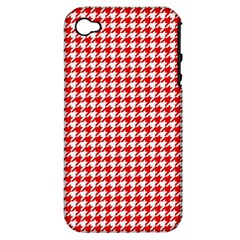 Friendly Houndstooth Pattern,red Apple Iphone 4/4s Hardshell Case (pc+silicone)