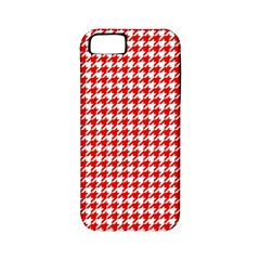 Friendly Houndstooth Pattern,red Apple Iphone 5 Classic Hardshell Case (pc+silicone)