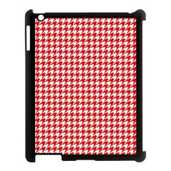 Friendly Houndstooth Pattern,red Apple Ipad 3/4 Case (black)
