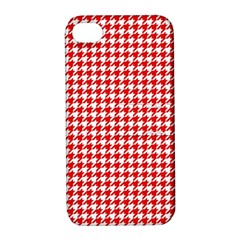 Friendly Houndstooth Pattern,red Apple Iphone 4/4s Hardshell Case With Stand
