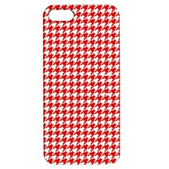 Friendly Houndstooth Pattern,red Apple Iphone 5 Hardshell Case With Stand