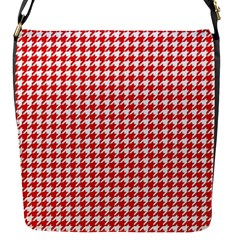 Friendly Houndstooth Pattern,red Flap Messenger Bag (s)