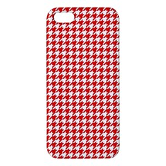 Friendly Houndstooth Pattern,red Iphone 5s/ Se Premium Hardshell Case