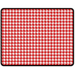 Friendly Houndstooth Pattern,red Double Sided Fleece Blanket (medium)