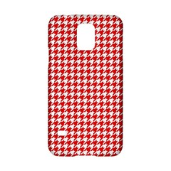 Friendly Houndstooth Pattern,red Samsung Galaxy S5 Hardshell Case