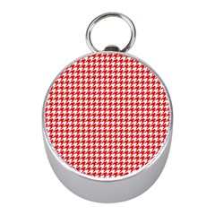 Friendly Houndstooth Pattern,red Mini Silver Compasses