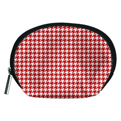 Friendly Houndstooth Pattern,red Accessory Pouches (medium)