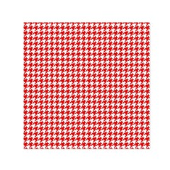 Friendly Houndstooth Pattern,red Small Satin Scarf (square)